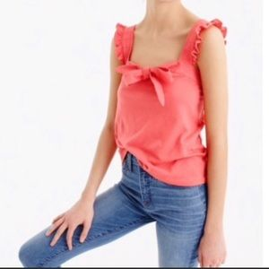 🍃🍊 J.Crew Coral Top Sunset Bow Sweetheart 🍊🍃